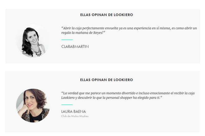 Lookiero opiniones de la experiencia de compra de Clarab Martín y Laura Baena