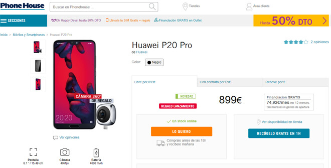 Comprar Huawei P20 en phonehouse