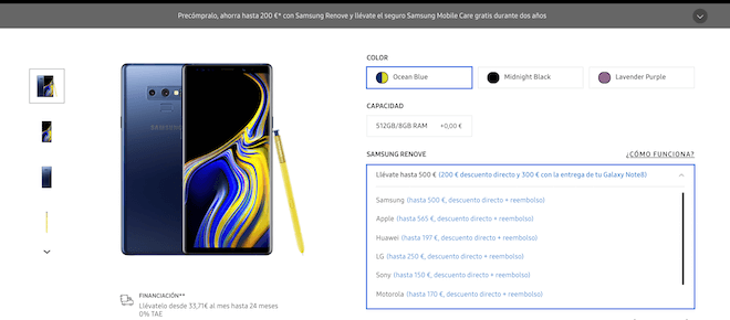 Descuentos en el precio del note 9 si lo compras con Samsung Renove