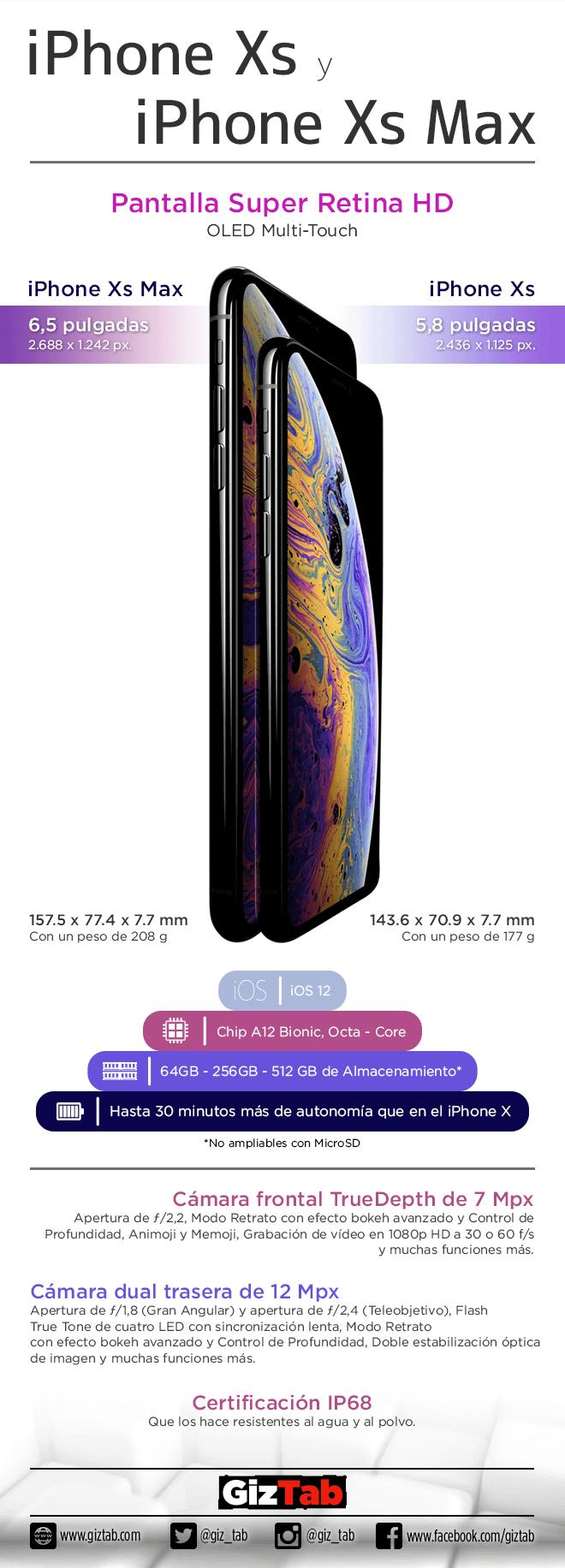 Infografía iPhone Xs y Xs Max
