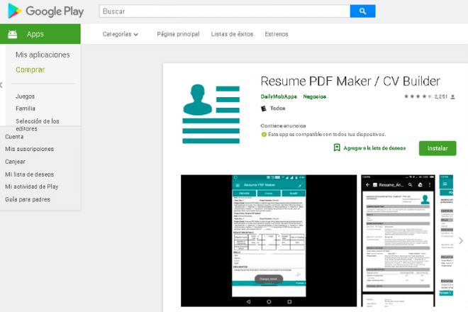 Resume PDF Maker cómo hacer un currículum vitae desde el Smartphone