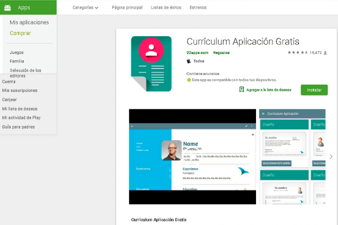 cómo hacer un currículum desde el Smartphone Currículum Aplicación Gratis