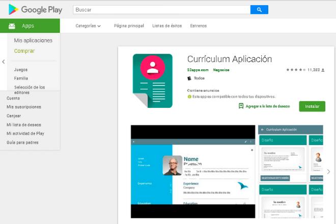 cómo hacer un currículum vitae desde el Smartphone con curriculum aplicación.