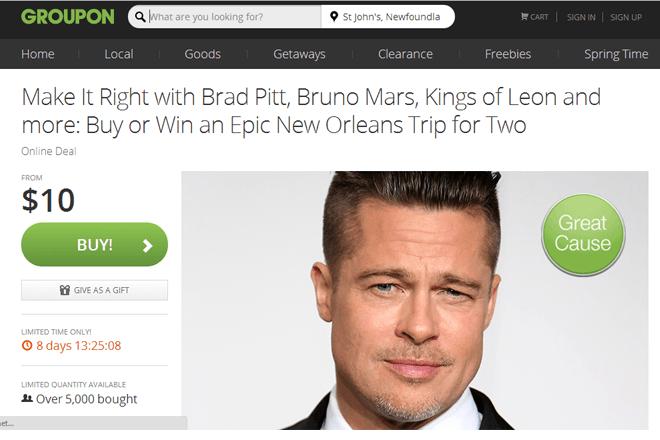 Groupon ofrece un cupón para conocer a Brad Pitt