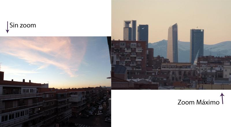 Comparativa de imágenes sin zoom y con zoom máximo, en modo automático