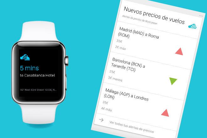 Skyscanner lanza apps para Google y Apple Watch: Now Card y Find your Way