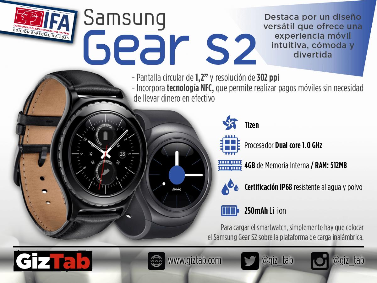 Infografia que muestra las mejores características del Samsung Gear S2