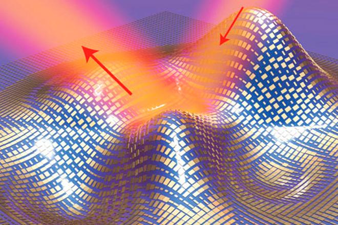 Ilustración 3D de un manto elaborado con una capa ultrafina de nanoantenas que cubre un objeto en forma arbitraria. La luz se refleja el manto como si se refleja en un espejo plano. (Fuente: news.berkeley.edu)