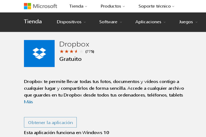 Dropbox para Windows 10 ya está disponible