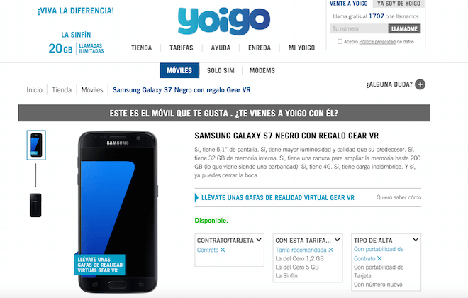 Yoigo también ofrece financiado el Samsung Galaxy S7 y Galaxy S7 Edge