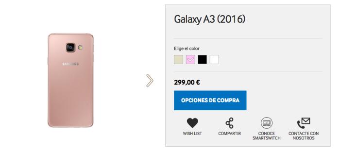 Samsung Galaxy A5 y A3 en color rosa ya se pueden comprar en España