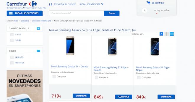 comprar Galaxy S7 en Carrefour ofertas