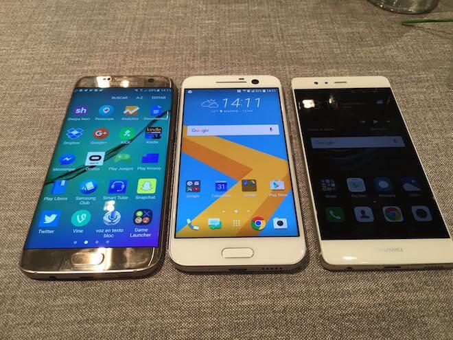 Samsung Galaxy S7 Edge Vs Huawei P9 Vs HTC 10 comparacion