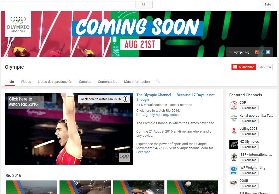 Canal Youtube de las Olimpiadas