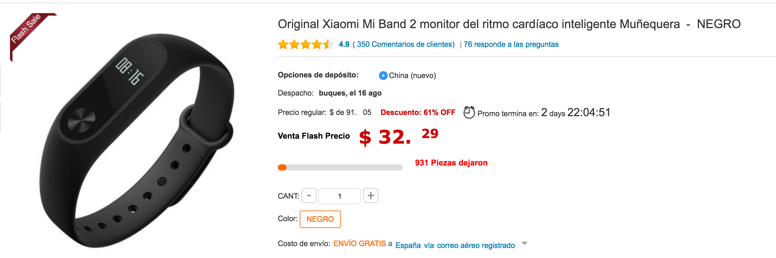 Comprar la Xiaomi Mi Band 2 en Gearbest con oferta