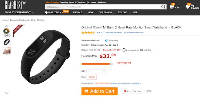 comprar xiaomi Mi Band 2 españa gearbest oferta barato