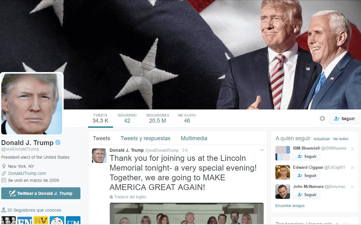 Redes sociales de Donald Trump