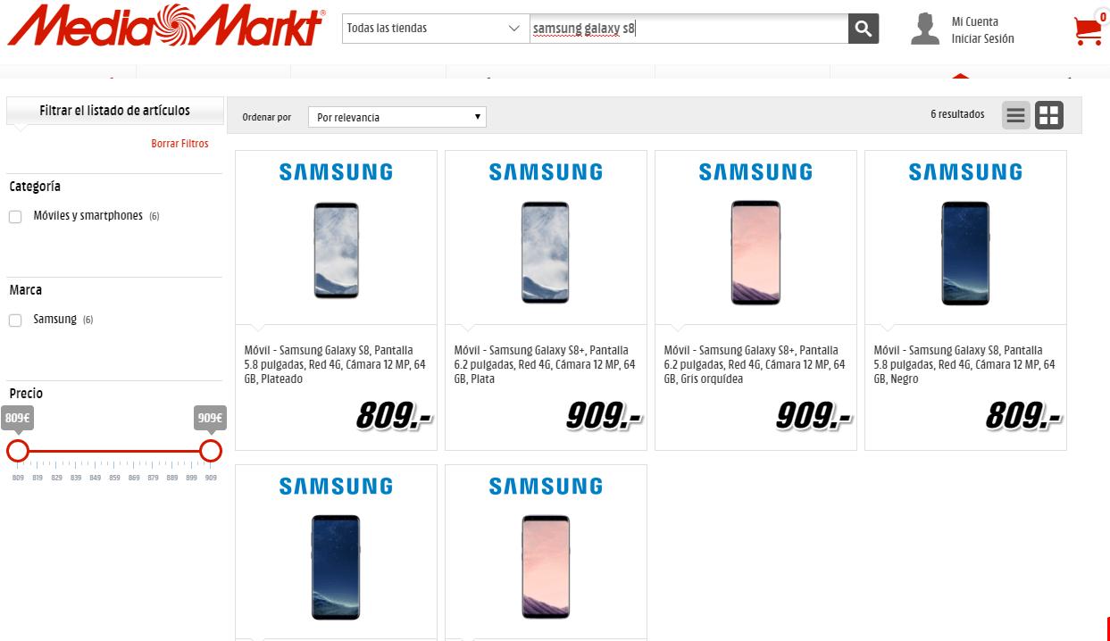 Ofertas del Samsung Galaxy S8 en Media Markt