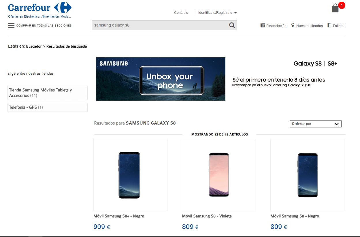 Ofertas del Samsung Galaxy S8 en Carrefour
