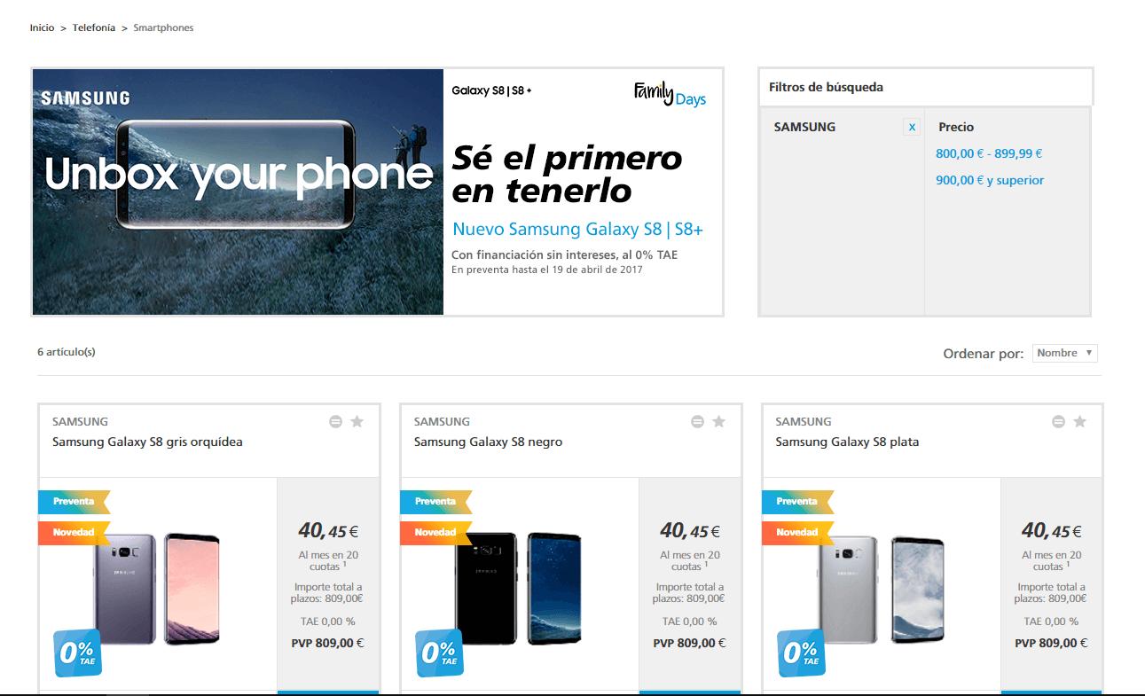 Ofertas del Samsung Galaxy S8 en Caixa Bank