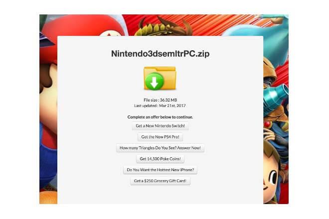 emuladores de Nintendo Switch falsos