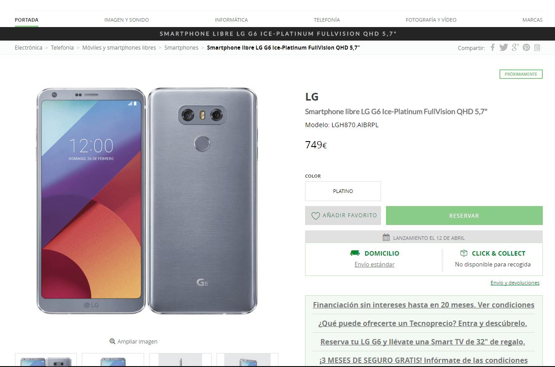 Comprar el LG G6 en El Corte Inglés