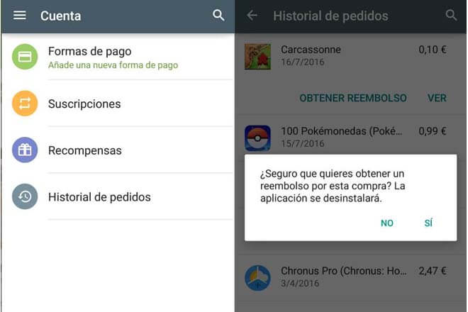 Solicitud de reembolso por aplicación en Google Play