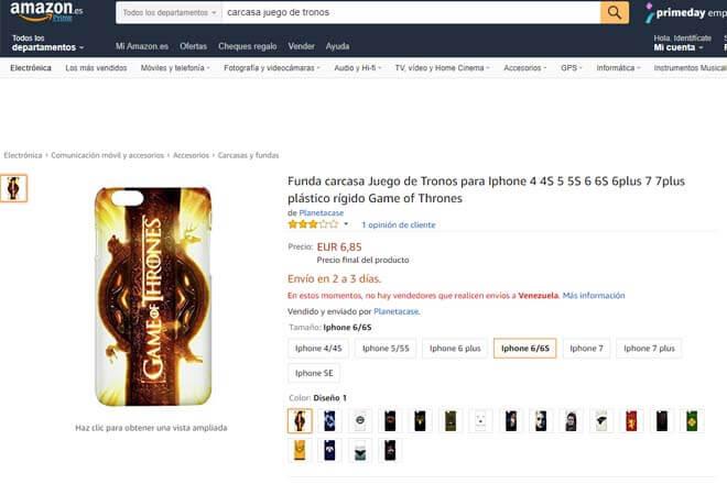 Funda juego de tronos Amazon
