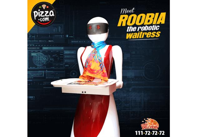 Camareras robot atienden en esta pizzería
