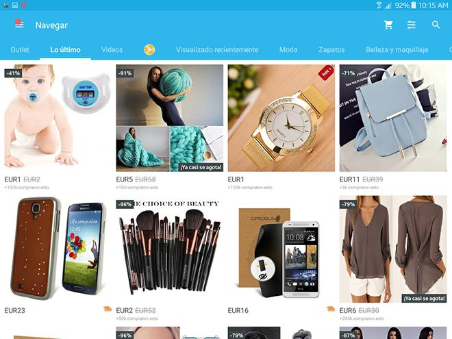 Una vez registrados en Wish, podemos empezar a comprar. Los productos están ubicados por categorías.