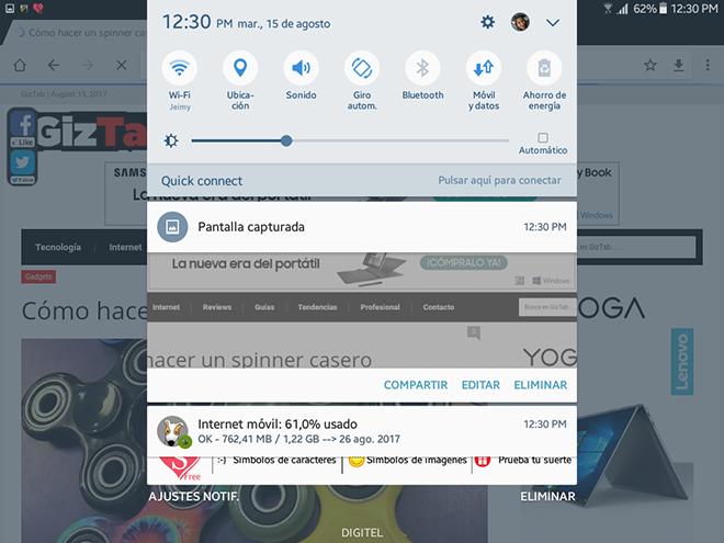Una vez hecha la captura de la imagen en Android, veremos una notificación en la pantalla, que confirma que se ha realizado la captura.