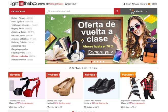 Web de Lightinthebox opiniones