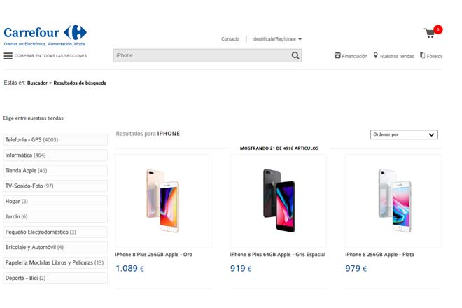 iPhone 8 en Carrefour