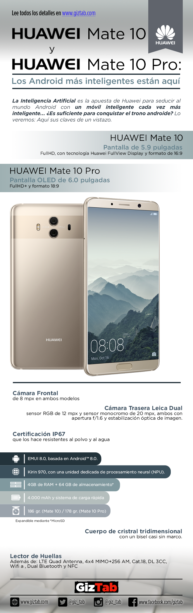 Infografía Huawei Mate 10 y Mate 10 Pro