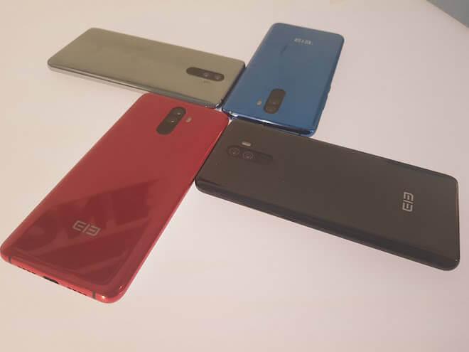 Cuatro colores en los que elephone u pro está disponible: rojo, azul, negro y plata