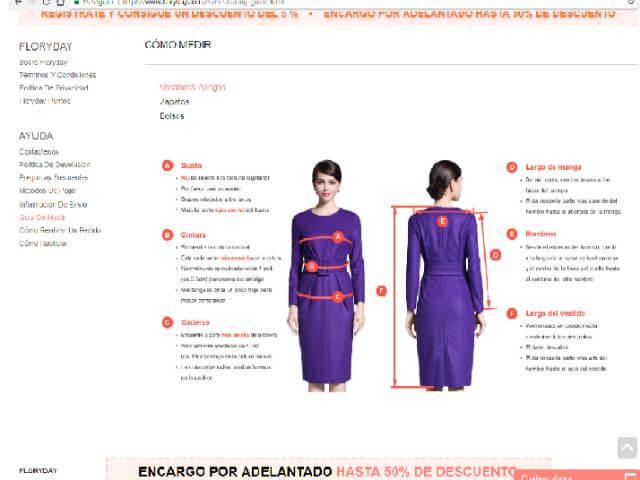 guía para medir tallas abrigos en floryday
