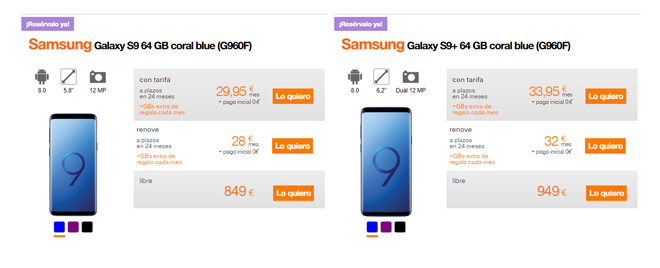 Oferta galaxy s9 orange