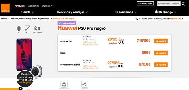 Comprar el Huawei P20 Pro en Orange