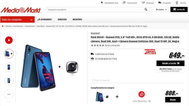 comprar Huawei P20 en MediaMarkt