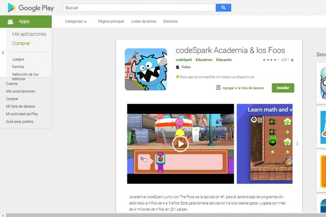 codeSpark es ideal que que niños de 4 a 9 años aprendan los fundamentos de la programación
