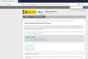 Web de Tablón Edictal de Sanciones de Tráfico