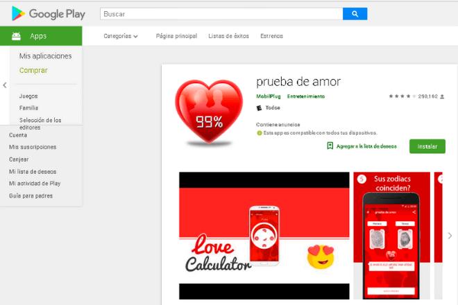 App Prueba de Amor
