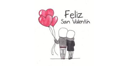 caricatura de una pareja de espaldas y abrazadas que sostienen tres globos en forma de corazón