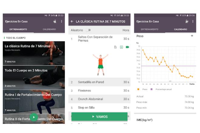 Imagen de pantallas de móvil de una app para bajar de peso