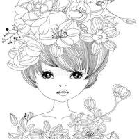 dibujos imprimir y colorear de chica con flores