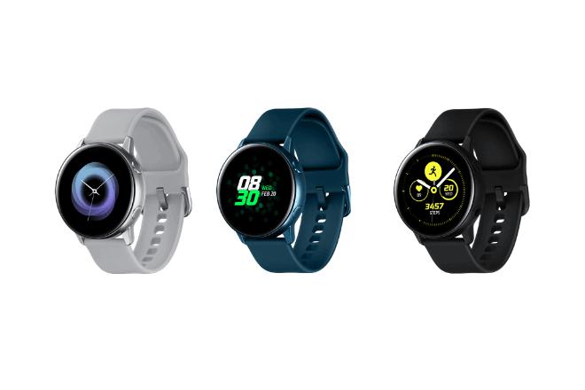 imagen del Galaxy Watch Active en tres tonos: plata, azul turquesa y negro