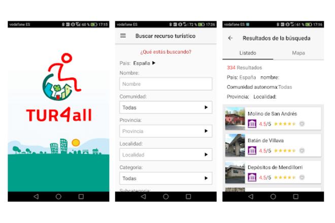imagen de tres pantallas de un móvil con la app TUR4all