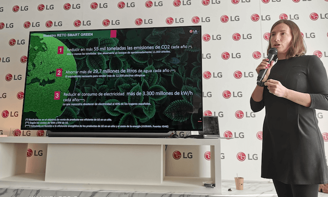 Anais Moreno, Directora de Marketing de LG, nos explicó su propuesta de sostenibilidad con productos eficientes y acciones para reducir la huella ambiental de la tecnología