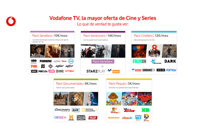 Vodafone TV estrena oferta de packs de canales y programación a medida