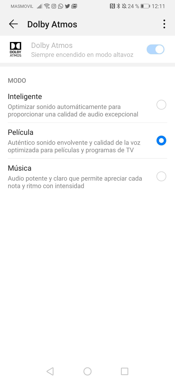 Opciones para el ajustes de sonido Dolby Atmos en el Huawei P30 Pro